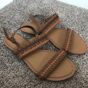 Maurices Brown Tan Braided Strap Sandals